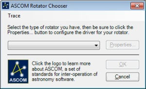 When you enter your rotator specs, the ASCOM chooser will appear and enable you to choose the Moonlite DRO rotator driver