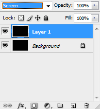 "Layers tab dropdown is set to ""screen"" with 100% opacity"