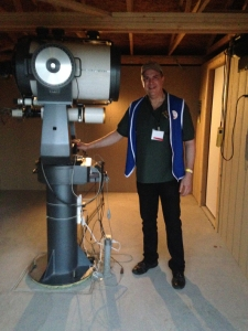 "Yours truly and NOT a Walmart greeter despite the cheesey blue vests we were wearing as ALCON Committee members! I am the Observatory Chairman for our Astronomical Society and our main observatory houses a  classic 16"" Meade and 110 refractor. We do a public show once a month and this features visual observing through the 16 and live video feed through the refractor to an LCD at the back of the observatory. The structure is owned by the Park and was built for the club. We own the scope which is an older SCT donated by New Mexico State University."