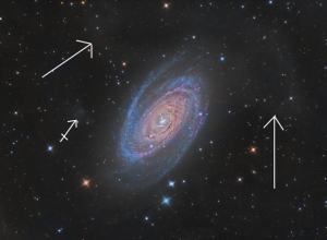 "M81 just completed. 10""RC and SBIG STXL6303E. Larger arrows point to the now appreciated ""Arp's loop"". This is a loop of gas emanating from the galactic disc but recently at least some of this is believed to exist in our galaxy as ""galactic cirrus"". Halton Arp was an astronomer who catalogued interacting galaxies and galaxies with unusual structure and features"