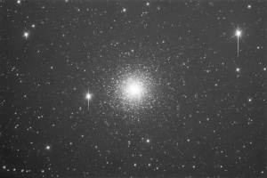 This is a raw 6 minute luminance image of M15. Yes there are significant star blooms (vertical streaks) however this is the trade off with a highly sensitive CCD and these can be processed out
