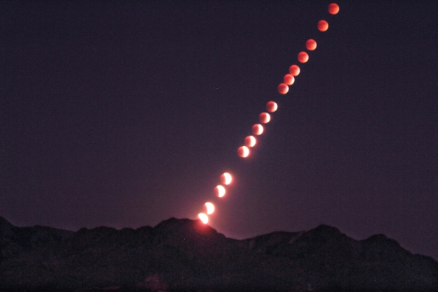 Supermoon lunar eclipse sequence from Las Cruces, NM. Taken with Canon EOS 600D, 1600 ISO, 55mm lens F4.5; 0.5- 1 sec exposures over 2.5 hours